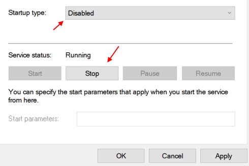 Disable Stop Service