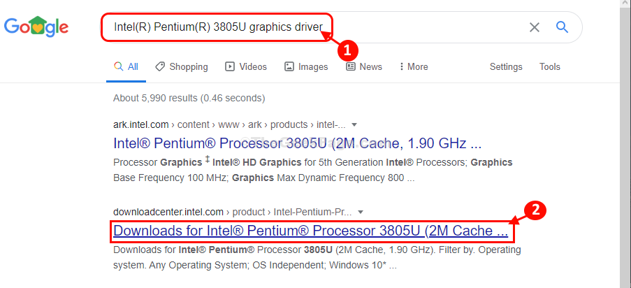 Intel Graphics Search