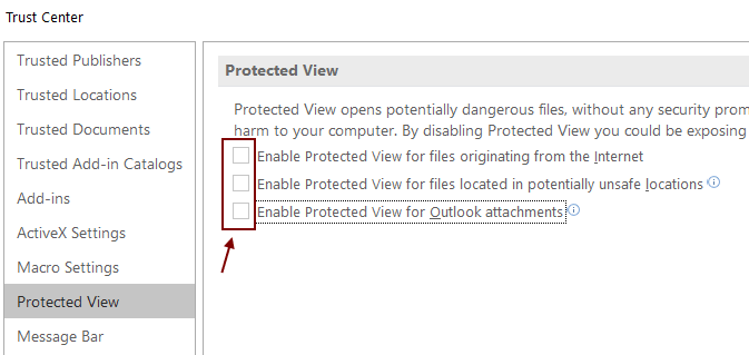 Protected View Disable Min
