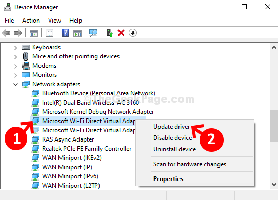 Right Click On Virtual Adapter Click On Update Driver