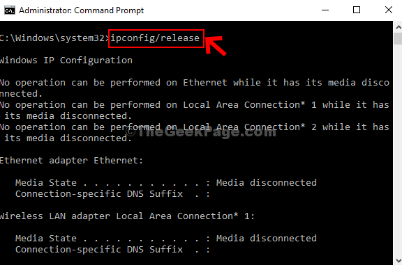 Run Command Ipconfig Release Enter