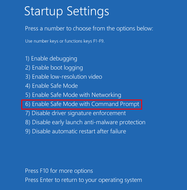 Startup Settings Options Safe Mode Cmd 11