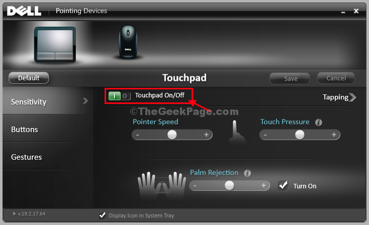 Touchpad On Or Off