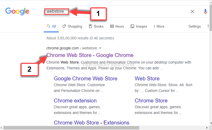 Chrome Browser Google Search Webstore 1st Result