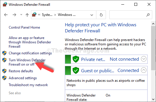 Click On Turn Windows Defender Firewall On Or Off
