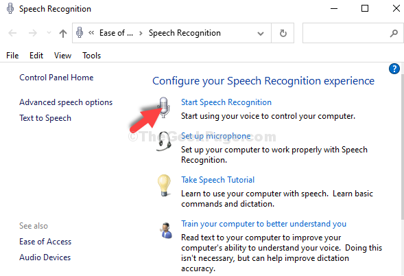 Control Panel Start Speech Recognition