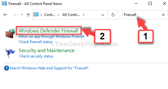 Control Panel Home Search Firewall Windows Defender Firewall