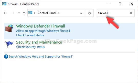 Control Panel Search For Firewall