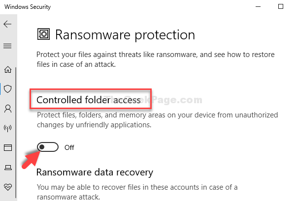 Controlled Folder Access Turn Off