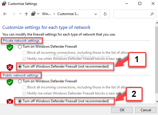Customize Settings Private Network Settings And Pubic Network Settings Turn Off Windows Defender Firewall