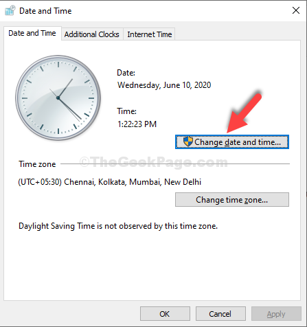 Date And Time Window Change Date And Time Button