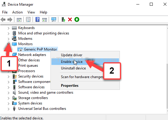 Device Manager Monitors Expand Generic Pnp Monitor Right Click Enable