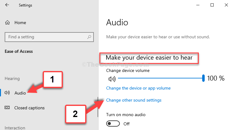 Ease Of Access Audio Make Your Device Easier To Hear Change Other Sound Settings