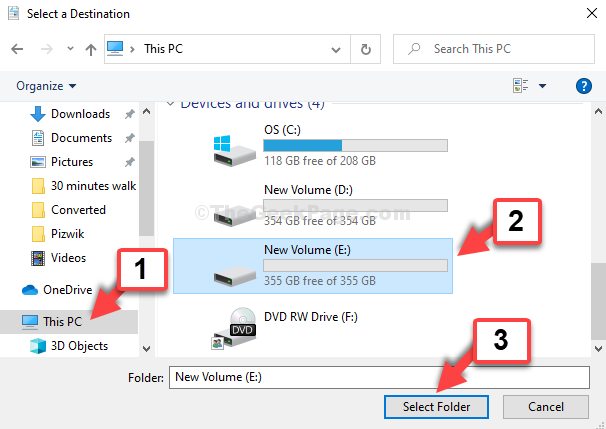 File Explorer This Pc Shortcut E Drive Select Folder