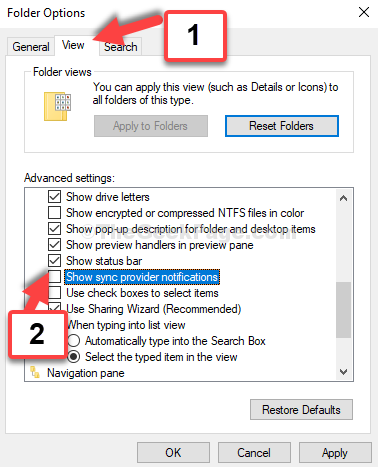 Folder Options View Tab Uncheck Show Sync Provider Notifications Apply Ok