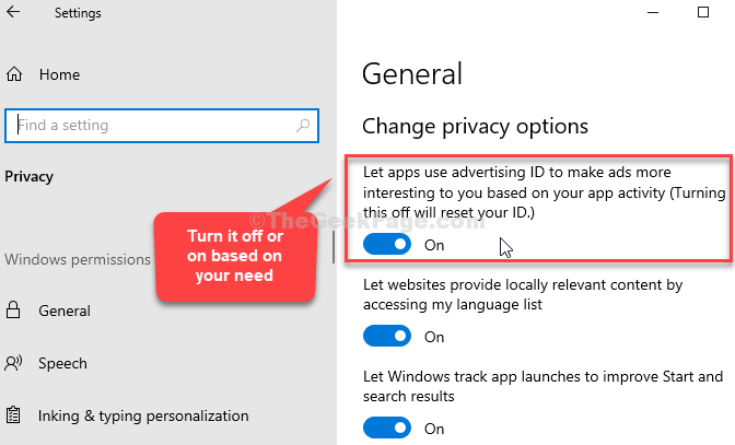 General Change Privacy Options Let Apps Use Advsertising Ids Turn It On Or Off