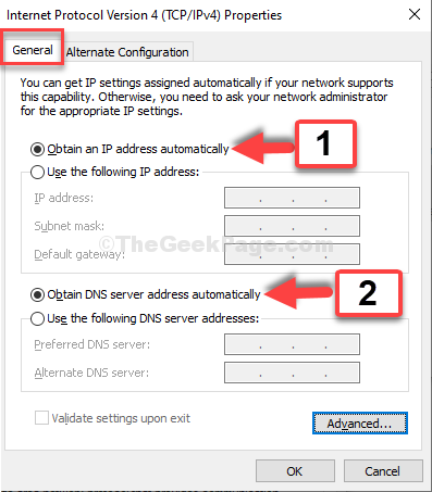 General Select Obtain An Ip Address Automatically Select Obtain Dns Server Addres Automatically