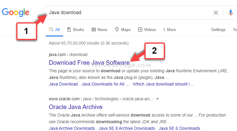 Google Search Java Download 1st Result
