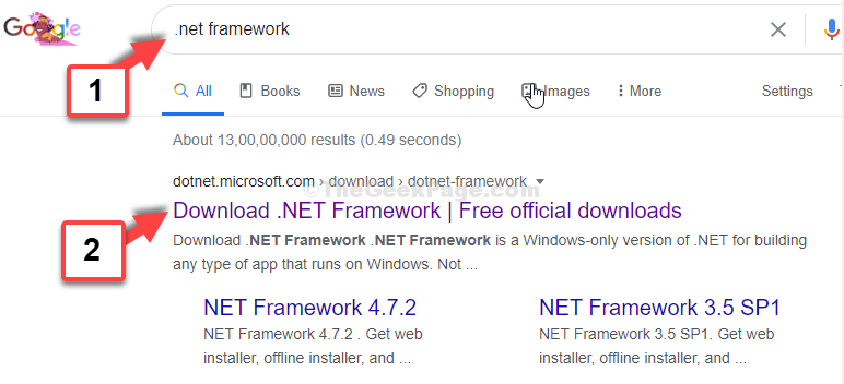 Google Search .net Framework 1st Result From Microsoft Official Website