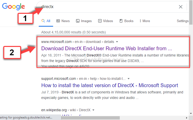 Google Search Directx Click On Link