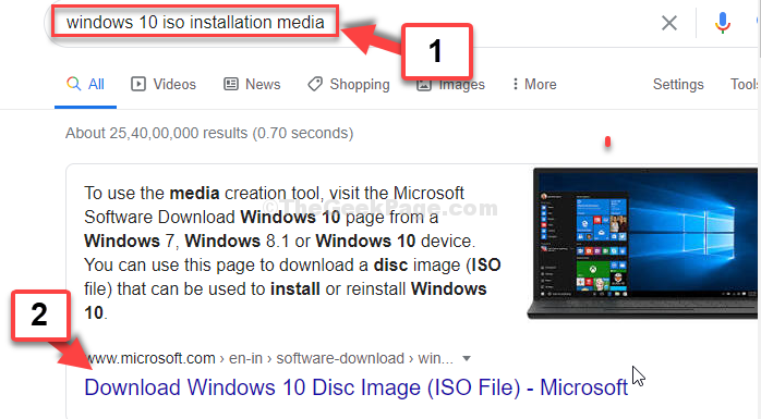 Google Search Windows 10 Iso Installation Media Enter 1st Resulf From Microsoft