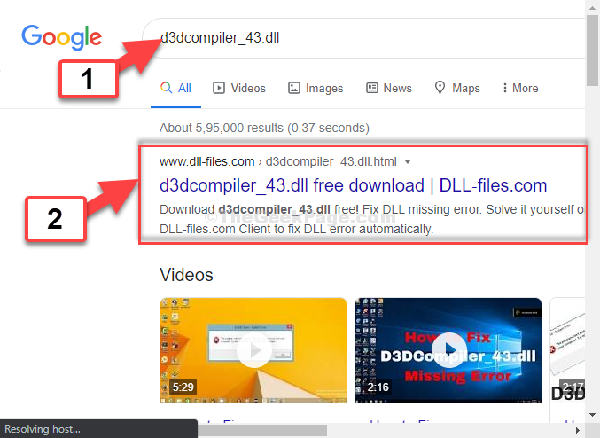 Google Search = D3dcompiler 43.dll 1st Result