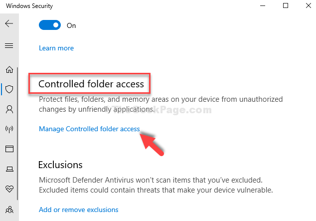 Next Window Controlled Folder Access Manage Controlled Folder Access