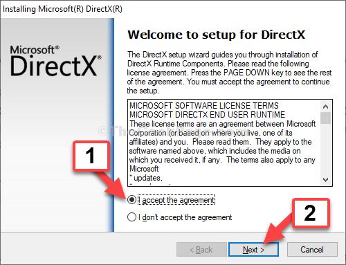 Open Directx Installer I Accept The Agreement Next
