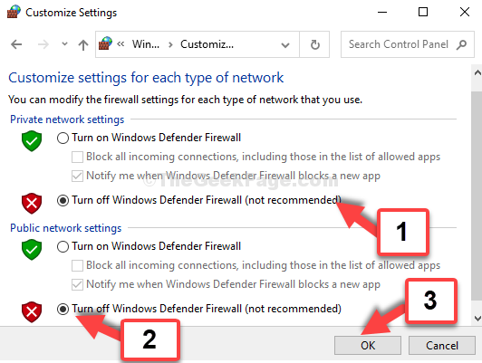 Private Network Settings Turn Off Windows Defender Firewall Public Network Settings Turn Off Windows Defender Firewall Ok