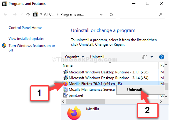 Programs And Features Mozilla Firefox Uninstall