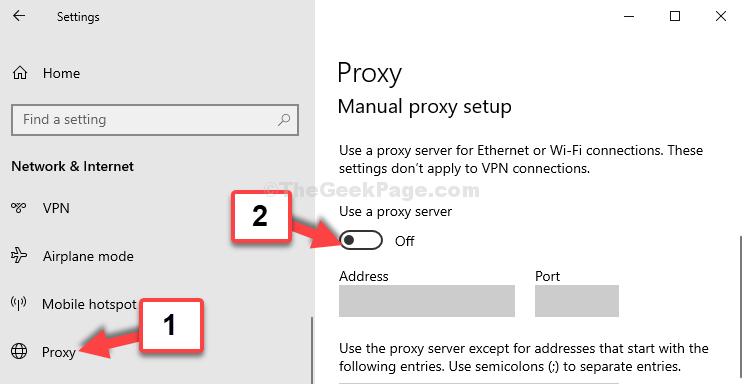 Proxy Manual Proxy Setup Use Proxy Sserver Turn Off