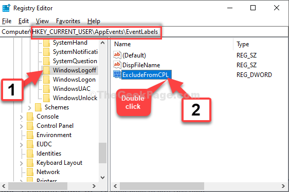 Registry Editor Navigate To Path Windowslogoff Excludefromcpl Double Click