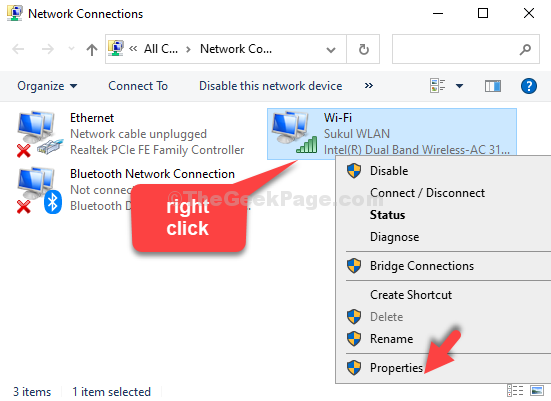 Right Click On Active Connection Properties
