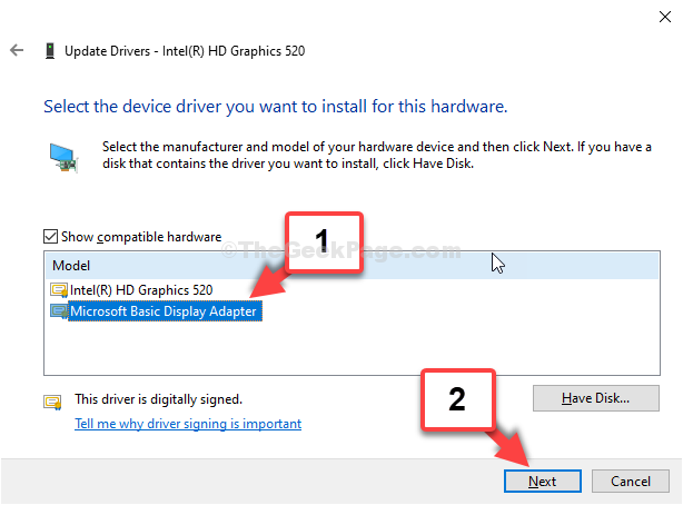 Select Microsoft Basic Display Adapter Next