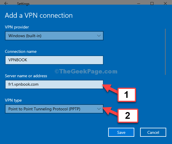 Server Name Or Address Paste Server Address Vpn Type