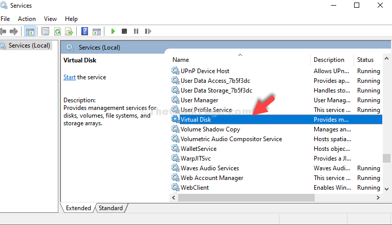 Services Name Virtual Disk Double Click