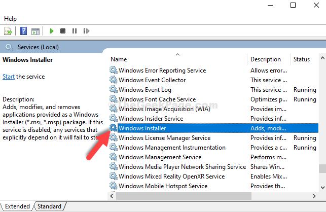 Services Right Side Name Column Windows Installer Double Click