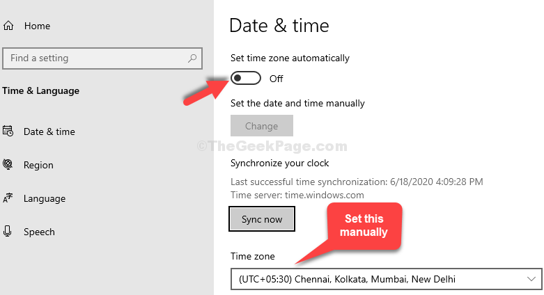 Set Time Zone Automatically Turn Off Set Time Zone Manually