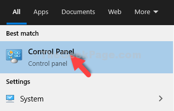 Start Search Control Panel Result