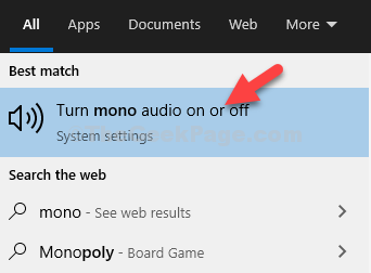 Start Search Mono Click On Result Turn Mono Audio On Or Off