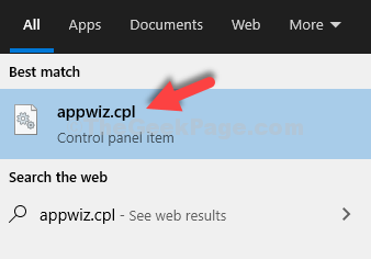 Start Type Appwiz.cpl Search Result