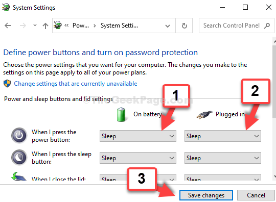 System Settings When I Press The Power Button On Battery Sleep Plugged In Sleep Save The Changes