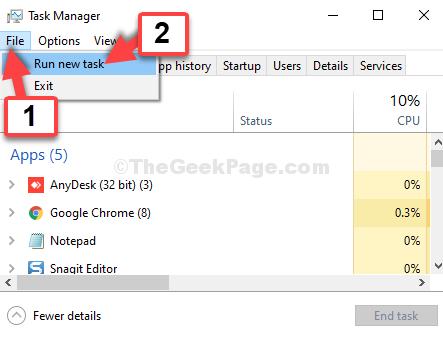 Task Manager File Run New Task