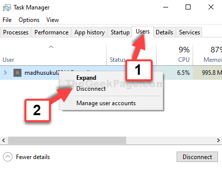 Task Manager Users Right Click User Disconnect