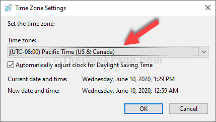 Tme Zone Settings Try Different Time Zone Paific Time Us & Canada