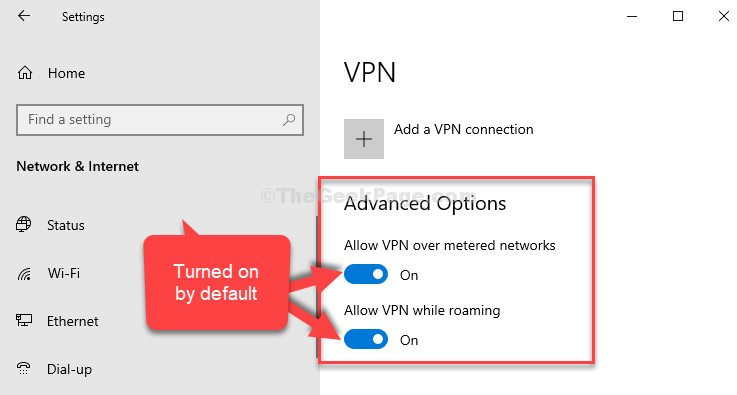 Vpn Advanced Options Both Options Turned On By Default