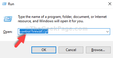 Win + R Run Box Type Control Firewall.cpl Enter