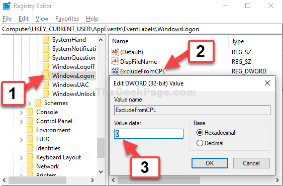 Windowslogon Excludefromcpl Double Click Valaue Data 0