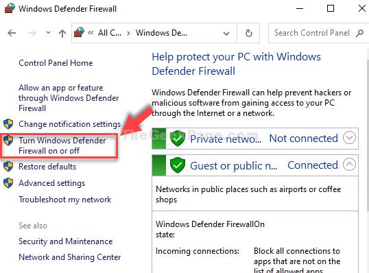 Windows Defender Firewall Turn Windows Defender Firewall On Or Off