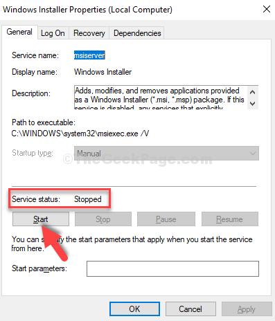 Windows Installer Properties General Tab Service Status If Stopped Start Ok